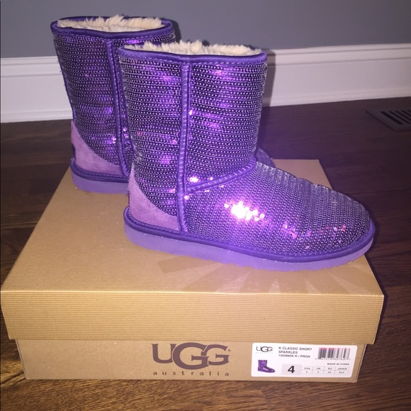 Purple Sequin Uggs- Size 4 kids